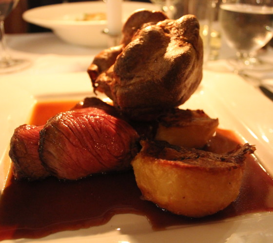 roast beef at the Star Castle hotel